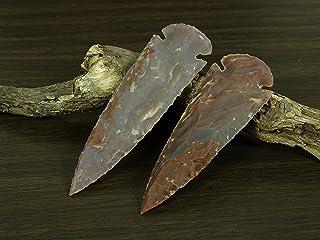 Reikiera 2 X Main Indian Agate Pierre Spearhead 4 Pouces Arrowhead