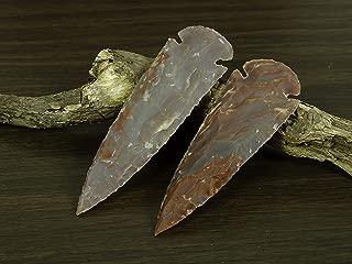 Reikiera 2 x Handmade Indian Agate Stone Spearhead 4 Inches Arrowhead