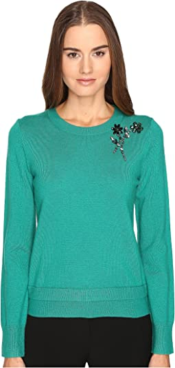 Embellished Brooch Sweater