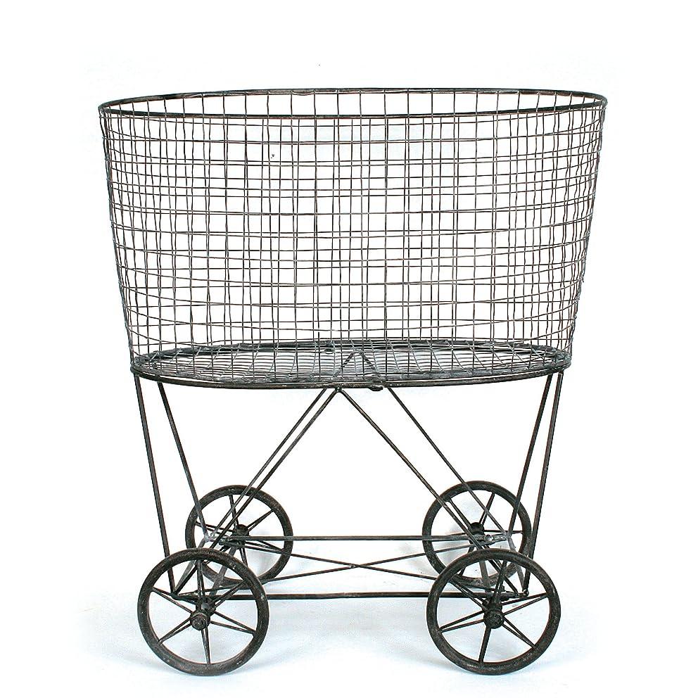 Creative Co-op Vintage Metal Laundry Basket with Wheels