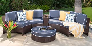 Christopher Knight Home Riviera Portofino Outdoor 4 Seater Wicker Curved Sectional Set with Ice Bucket Ottoman, Brown and Navy Blue