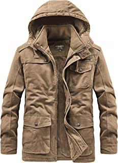 Men's Winter Military Jacket Thicken Cotton Coat with Removable Hood