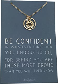 Doodle Beads Graduation Compass Necklace Gold - carded with Quote - Be Confident in Whatever Direction You Choose to go; for Behind You are Those More Proud Than You Will Ever Know.