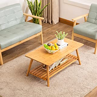 Coffee Table,NNEWVANTE Cocktail Table Bamboo End Table Foldable TV Table/Sofa Desk/Center Table Side Table with Removal Storage Shelf for Living Room Furniture No Assembly Large Size 38.6'' x 19.7''