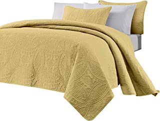 Chezmoi Collection Austin 3-Piece Oversized Bedspread Coverlet Set (Queen, Yellow)