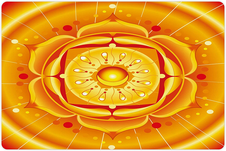 Lunarable Lotus Manufacturer OFFicial shop Pet Mat Max 72% OFF for Food Jou Mandala and Circular Water
