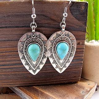 Earrings For Women-Boho Turquoise and Silver Dangle Earrings Stainless Steel Earring Hooks