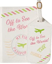 Lillian Rose Luggage Tag and Passport, Pink/World, 6.75