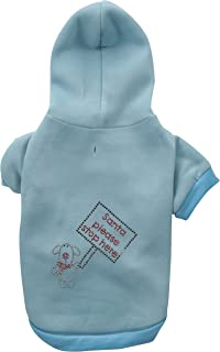 Mirage Pet Products Santa Stop Here Hoodies Baby Blue Large
