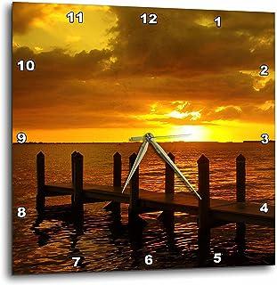 3dRose Florene Sunset - Burnt Orange Sky - 10x10 Wall Clock (dpp_16785_1)