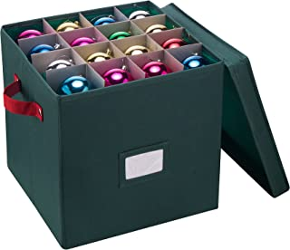 Elf Stor Ornament Storage Chest with Dividers - Holds 64 Balls, Green