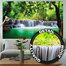 Great Art Poster Waterfall Feng Shui Wall Picture Decoration Nature Jungle Scenery Paradise Vacation Thailand Asia Wellness Spa Relax Wall Decor (55 Inch x 39.4 Inch/140 cm x 100 cm)