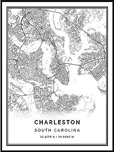 Charleston map Poster Print | Modern Black and White Wall Art | Scandinavian Home Decor | South Carolina City Prints Artwork | Fine Art Posters 9x11
