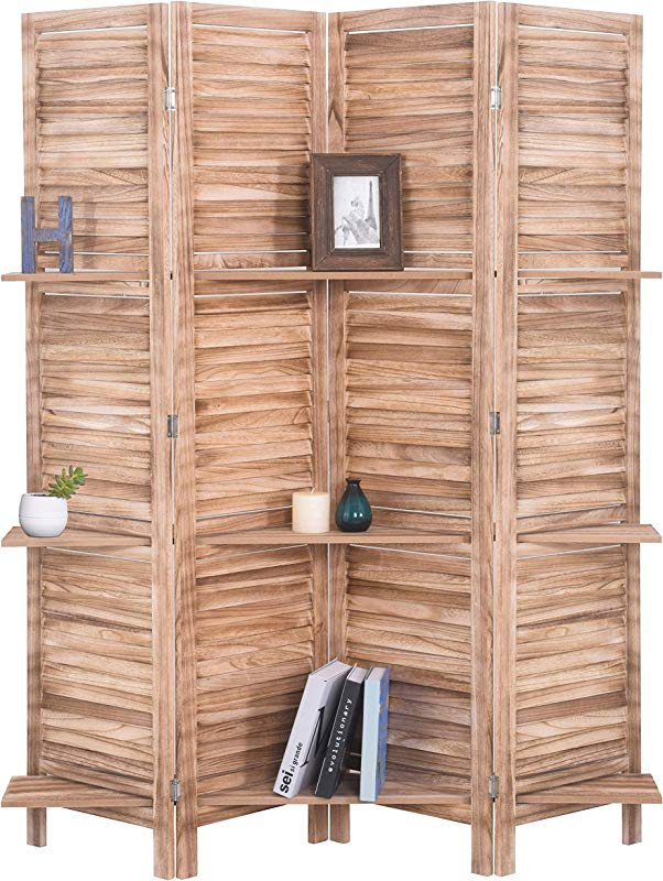 RHF 4 Panel 5 6 Ft Tall Partition Wood Room Divider Wood Folding Room Divider Screens Panel Divider Room Dividers Room Dividers And Folding Privacy Screens With Shelves 4 Panel Natural