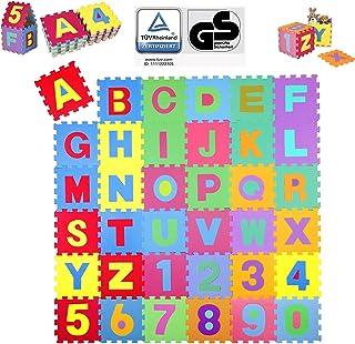 KIDUKU® 86-delige puzzelmat kinderspeelkleed speelmat speeltapijt schuimmat kinderkleed, cijfers en hoofdletters, afmeting...