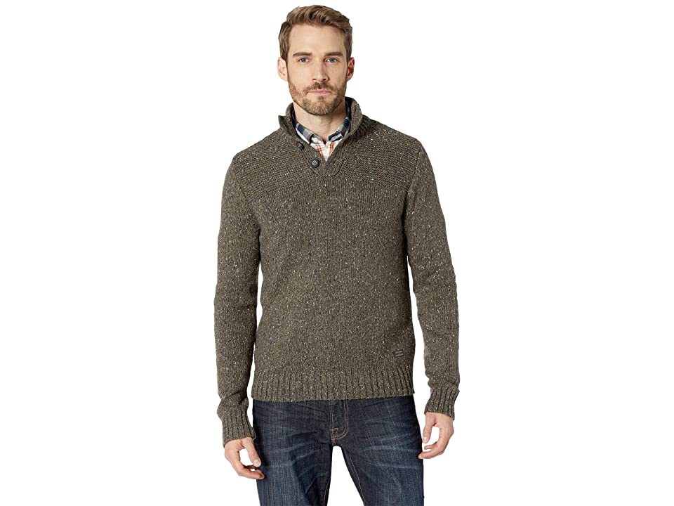 Lucky Brand Donnegal Button Mock Neck Sweater (Heather Olive) Men