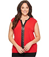 Calvin Klein Plus Plus Size Sleeveless Top w/ Faux Leather & Chain