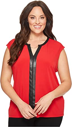 Calvin Klein Plus - Plus Size Sleeveless Top w/ Faux Leather & Chain