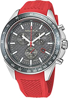 Nautica Men's Stainless Steel Quartz Fabric Strap, Red, 22 Casual Watch (Model: NAPOBS111)