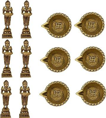 Indian Diwali Oil Lamp Pooja Diya Brass Light Puja Decorations Mandir Decoration Items Handmade Items Lamps Made in India Decorative Wicks Diyas Deep Laxmi & Sri Swastik Deep Vilakku Set of 12 - Gold