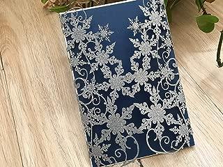 Snowflake Wedding Invitations,Glitter Silver Laser Cut Wedding Cards,Beautiful Wedding Invites,Winter Weddng Invitations,Glitter Silver Invitation Cards,50pcs