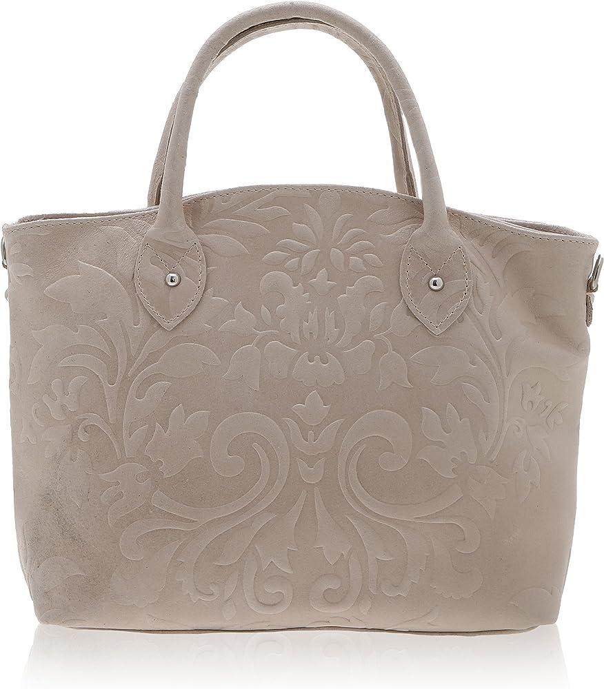 Chicca borse handbag, borsa a mano da donna, in vera pelle, made in italy DDD80070-ROSA_ANTICO