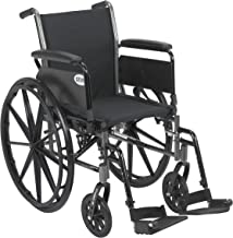 Drive Medical Cruiser III Light Weight Wheelchair with Various Flip Back Arm Styles and Front Rigging Options, Flip Back Removable Full Arms/Swing Away Footrests, Black, 18 Inch