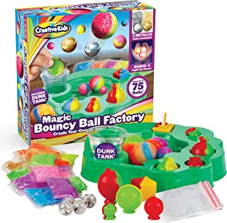 Creative Kids DIY Magic Bouncy Balls Factory Set - Create Your Own Crystal Powder Metallic & Light-up Craft Kit for Kids - Includes 64 Bags of Crystal Powder & 10 Molds - Makes Up to 75 Bouncy Balls