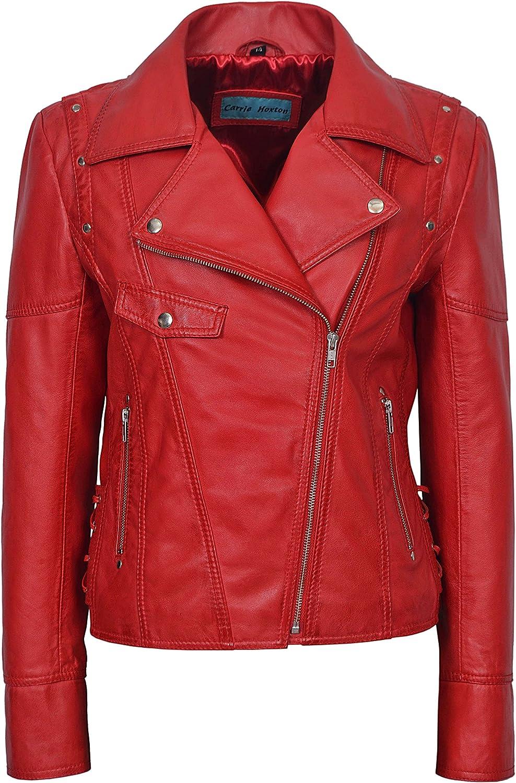 Clara 9824 Ladies RED Detachable Fur Collar Rock Style Designer Leather Jacket