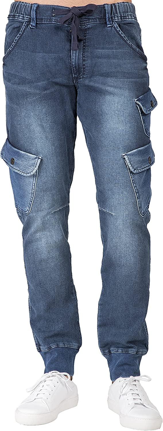 Level 7 Mens Premium Knit OFFicial store Denim Blue Jogger Ocean Angled S Ranking TOP18 Jeans