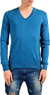 Collection Men's Blue Silk V-Neck Sweater US L IT 52
