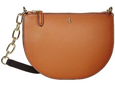 LAUREN Ralph Lauren Super Smooth Leather Sutton 22 Crossbody Medium (Lauren Tan/Vanilla/Black) Handbags