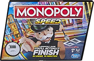 Monopoly Speed Board Game, Play in Under 10 Minutes, Fast-Playing Board Game for Ages 8 and Up, Game for 2-4 Players