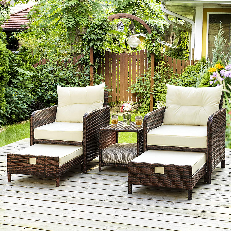 Amazon.com: PAMAPIC 5 Pieces Wicker Patio Furniture Set Outdoor