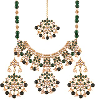 I Jewels Gold Plated Traditional Kundan Necklace Set with Earrings & Maang Tikka For Women