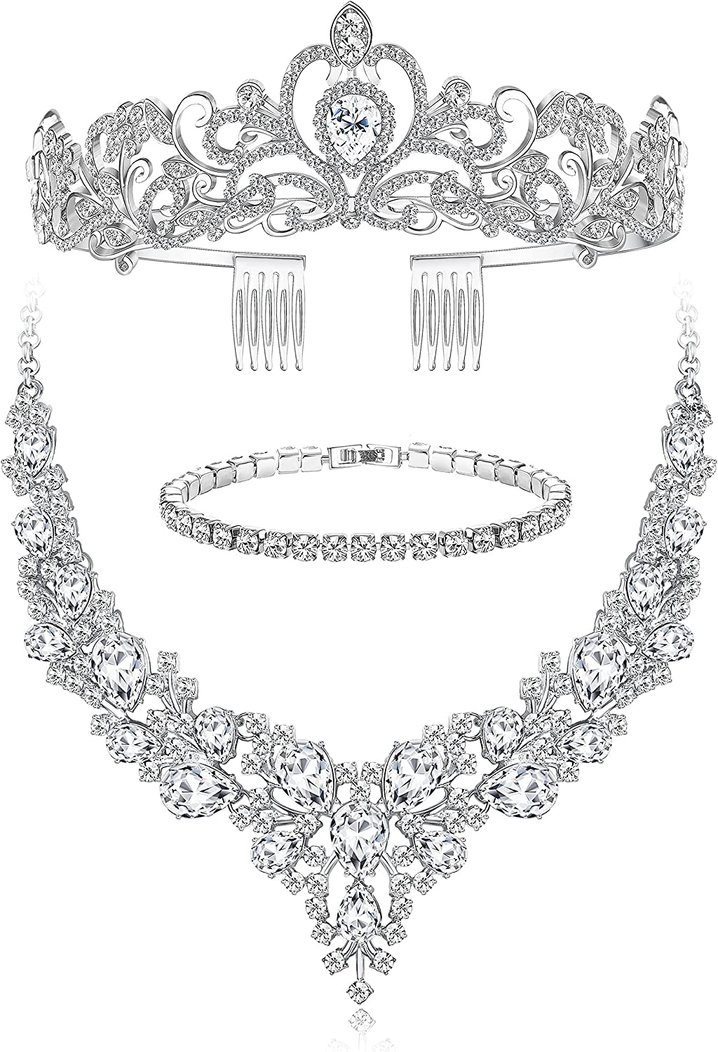 FIASASO Crystal Bridal Jewelry Sets for Women White Gold Plated Necklace Bracelet Tiara Crown Set Prom Costume Jewelry Allergy Free Wedding Party Jewelry for Bridal Bridesmaid