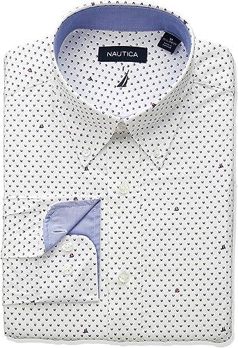 Nautica Hommes's Classic Fit Button Down Collar Robe Shirt, blanc Sailboat Print, 16 34 35