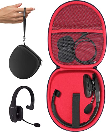 Headset Case for VXi BlueParrott B450-XT, B450-XT -204010-C, B350-XT, B250-XTS, C400-XT, Mesh pocket for cable, amplifier and other accessories, detachable wrist strap for easy carry, Black + red zip