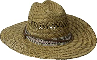 San Diego Hat Co. Men's Straw Lifeguard Hat with Jacquard Band and Chin Strap