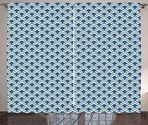Kenneth Camilla Chinese Traditional Tile Curtain,Adjustable Tie Up Shade Rod Pocket Curtains,84 x 84 inchs
