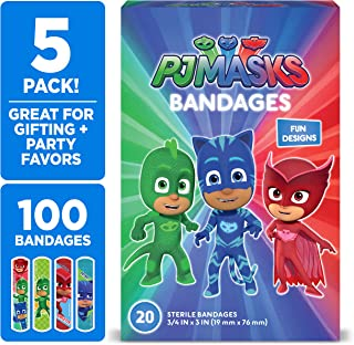 PJ Masks Kids Bandages, 100 ct | Adhesive Bandages for Minor Cuts, Scrapes, Burns
