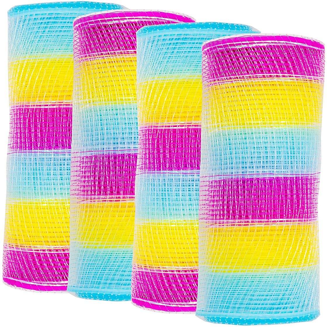 Easter Decorative Mesh Roll | 6 Inch X 5 Yards (4 Pack) | DIY Craft Project, Easter Basket Decor, Wreath Bow, Floral Bouquet, Center Pieces, Gift Wrapping | Multi-Colored Blue Yellow Red Pink