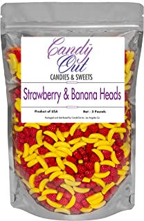 CandyOut Banana and Strawberry Candy 3 Pound Banana Strawberry Shaped Candy in Sealed Stand Up Bag