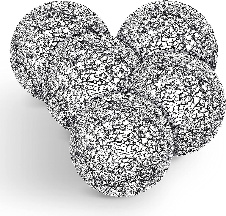 5 Pieces Mosaic Sphere Balls Decorative Mosaic Glass Balls Decorative Orbs Centerpiece Balls for Bowls Vases Dining Table Decor, Diameter 4 Inch (Black Silver)