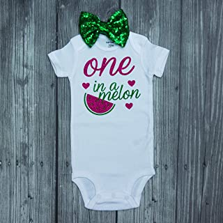 One in a melon bodysuit - hot pink -tutu - watermelon bodysuit - watermelon top - melon - watermelon - pink watermelon - cake smash - sequin bow - hairbow - birthday outfit - birthday set - 12 months