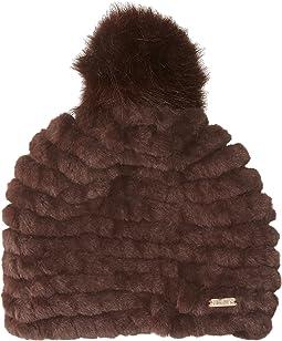 Calvin Klein - Knit Faux Fur Pompom Beanie
