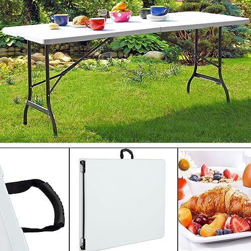 Table de jardin pliable 240 cm blanc Table de camping pliante Terrasse Extérieur