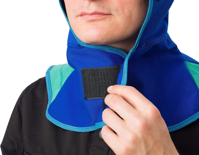 Waylander Fabric Welding Hood BLUE Head and Neck Protection Under Welding Mask Shield or Firefighter Gear Flame Retardant Cotton Welding Cap with Neck Shoulder Drape