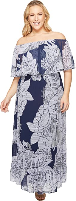 Donna Morgan Plus Size Printed Chiffon Off the Shoulder Maxi Dress