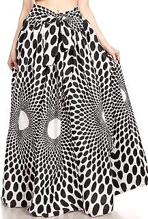 Sakkas Ami Women's Maxi Long African Ankara Print Skirt Pockets & Elastic Waist